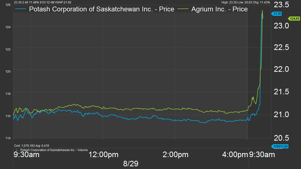 Canadian Fertilizer Shares Jump Firms Confirm Merger Talks