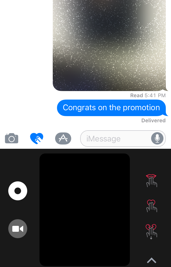 How to use apples new imessage invisible ink bubbles on the bottom right you can tap the camera icon to reveal a white button for stills and a red button for videos and you can write over the image at any buycottarizona Images