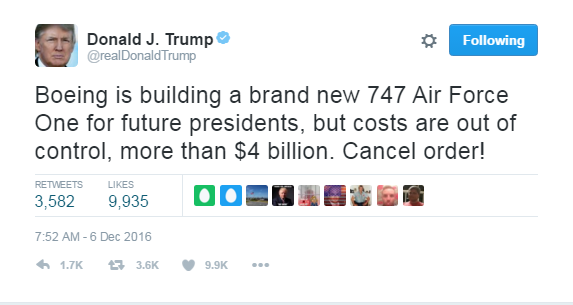 Image result for trump tweet boeing