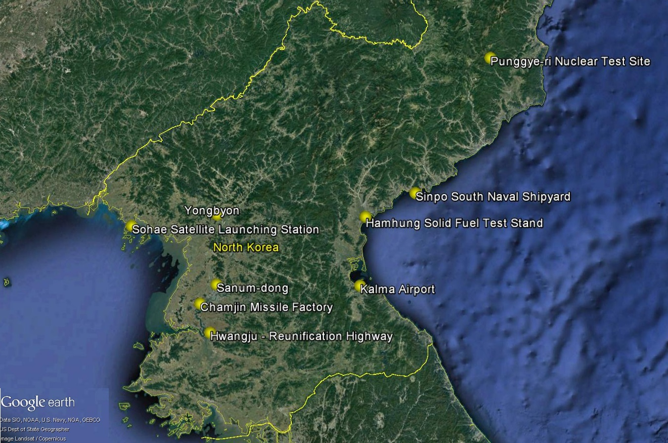 North Korea Ballistic Missile And Weapons Sites
