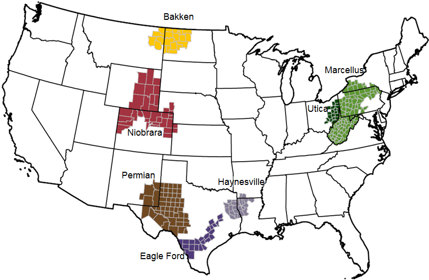 US Shale Drillers More Barrels Per Day EIA Report - Us oil production map