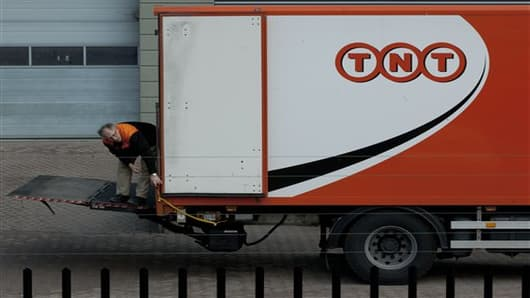 A TNT delivery truck near Amsterdam, Netherlands