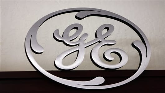 FILE-  This Dec. 2, 2008, file photo, shows a General Electric (GE) logo on display at Western Appliance store in Mountain View, Calif. (AP Photo/Paul Sakuma, File)