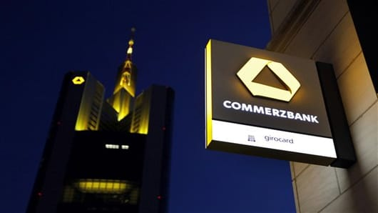 German Commerzbank is pictured in front of their headquarters in Frankfurt, central Germany.
