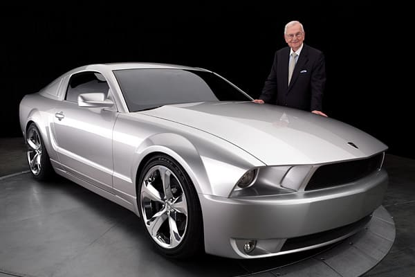 """Iacocca: """"I like this vehicle not only because it's my name sake, but a moving work of art!""""Nearly two years in the making, the Iacocca Silver Edition Mustang was a collaborative effort by Iacocca, designer Michael Leone, and Gaffoglio Family Metalcrafters, the world-class coachbuilding and design company in Fountain Valley, Calif. Only 45 of the V8 engine autos were made."""
