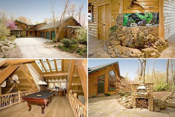 Price: $1,495,000Bedrooms / Baths: 4 / 5 Square Footage: 5,040Acreage: 5.96This contemporary white cedar log  was built in 2002 and has numerous whimsical touches and unique features, like the aquarium/fountain corner, a pool table situated on the catwalk bridge area, and a kitchen featuring copper, alderwood, burl wood, cherry, and a crackle stain finish. There's a breakfast nook, a hobby room, and an exercise room. Outdoor points of interest on the property are a brick oven on the patio and fu