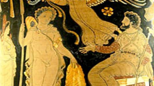 An Apulian red-figure calyx crater depicting Jason bringing Pelias the Golden Fleece, circa 340 BC–330 BC.
