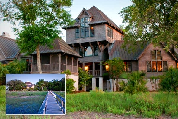 Price: $14,950,000Bedrooms / Baths: 3 / 3 full, 1 half Square Footage: 6,505Acreage: 11.377 In the South Carolina low country, situated between the Kiawah River, salt-water marshes and winding creeks, is the extremely private estate at No. 1 Captain Maynards Island. The weathered-wood exterior hides a thoroughly modern interior with vaulted ceilings, a fireplace, hardwood floors. For enjoying all the surrounding nature, the residence has a huge screened porch (2049 square feet—with its own vault