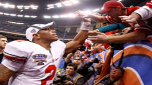 Quarterback Terrelle Pryor #2 of the Ohio State Buckeyes celebrates the Buckeyes 31-26 victory against the Arkansas Razorbacks during the Allstate Sugar Bowl at the Louisiana Superdome on January 4, 2011 in New Orleans, Louisiana.