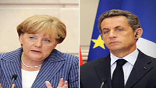 German Chancellor Angela Merkel speaks next to France's president Nicolas Sarkozy at the Elysee presidential palace in Paris on August 16, 2011 after a meeting between the two leaders on debt crisis.