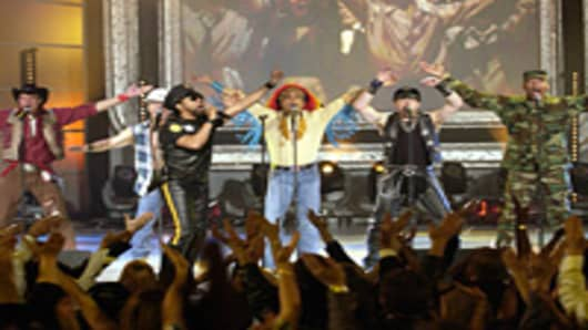 The Village People perform on stage at the taping of the American Bandstand.