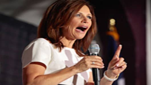 Republican presidential candidate Rep. Michele Bachmann (R-MN) addresses the Blackhawk County Republican annual Lincoln Day Dinner in Waterloo, Iowa.