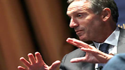 "Starbucks CEO Howard Schultz speaks at the Commonwelth Club of California on April 4, 2011 in San Francisco, California.  Schultz discussed his tenure as Starbucks CEO and promoted his new book ""Onward. - How Starbucks Fought For Its Life Without Losing its Soul"""
