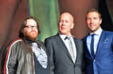 Director John Moore, actor Bruce Willis and actor Jai Courtney attend the dedication and unveiling of a new soundstage mural celebrating 25 years of 'Die Hard' at Fox Studio Lot.