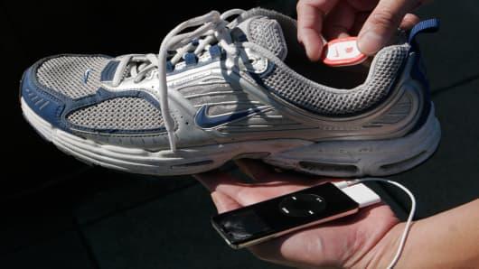 The Nike iPod Sport Kit is shown Thursday, Sept. 21, 2006 in New York. (AP Photo/Mark Lennihan)
