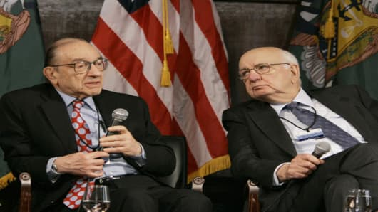 Former Federal Reserve Board Chairmen Alan Greenspan, left, and Paul Volcker, participate in the Treasury Conference on U.S. Capital Markets Competitiveness, Tuesday, March 13, 2007, at Georgetown University in Washington.  (AP Photo/Gerald Herbert)