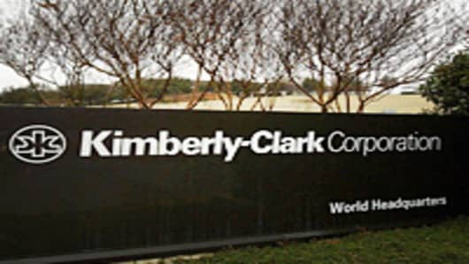 The entrance sign to Kimberly-Clark Corporation world headquarters campus in Irving, Texas, Sunday, Jan. 22, 2006. Kimberly-Clark Corp., maker of Kleenex tissues and Scott paper towels, announced Tuesday, Jan. 24, 2006 that fourth-quarter earnings tumbled 17 percent as one-time costs cut into profits, offsetting higher revenue. Earnings fell to $371.1 million, or 79 cents per share, from $445.3 million, or 91 cents per share, a year ago. Sales edged up 3 percent to $4.01 billion from $3.9 billio