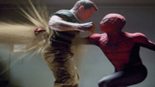 "Actor Thomas Haden Church as Sandman in a battle with Spider-Man in a scene from ""Spider-Man 3."""