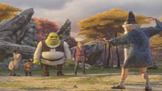 "A scene from ""Shrek The Third."" The film took in $122 million in its first weekend."