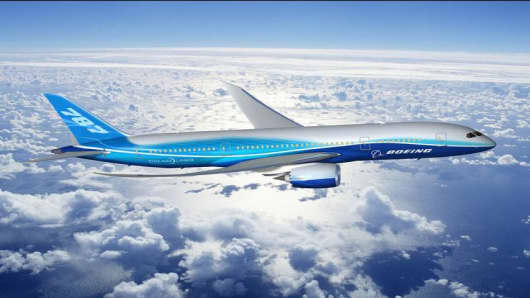 "In this hand hout computer-generated image provided by Boeing shows the company's new series Boeing 787 Dreamliner, Wednesday, April; 27, 2005.  A senior Boeing Co. official on Wednesday brushed off the threat of European rival Airbus SAS's ""superjumbo,"" saying orders for Boeing's smaller, more fuel-efficient Dreamliner were robust. ("