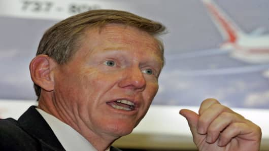 Boeing Co. Executive Vice President Alan Mulally speaks after signing an agreement with Air India in Bombay, India, Wednesday, Jan. 11, 2006. State-run Air India on Wednesday signed an agreement with U.S.-based Boeing Co. for the purchase of 68 planes valued at more than US$ 11 billion, in what officials called the largest single deal in India's civil aviation history. (AP Photo/Rajesh Nirgude)