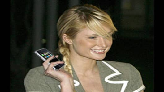 Paris Hilton and her new iPhone