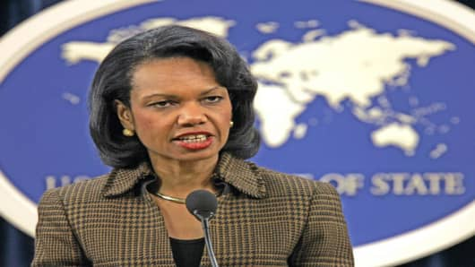 Secretary of State Condoleezza Rice.