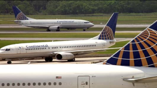 Continental Airlines planes at Houston Intercontinental Airport.