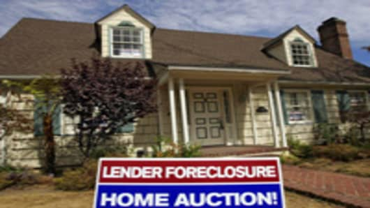 A home is advertised for sale at a foreclosure auction in Pasadena, California.