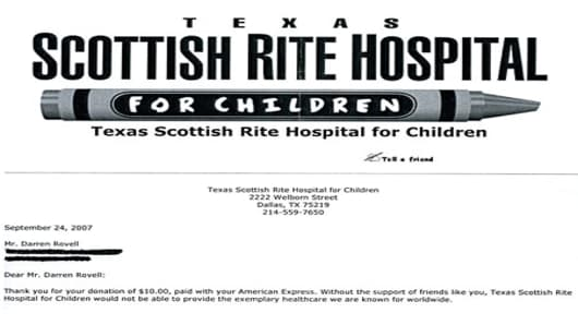 Darren Rovell's donation to the Texas Scottish Rite Hospital