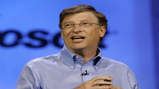 Microsoft chairman Bill Gates delivers a keynote speech at the Consumer Electronics Show in Las Vegas on Sunday, Jan. 7. 2007.  (AP Photo/Jae C. Hong)