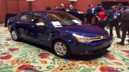 "Ford shows off its Focus model equipped with ""Sync"" connectivity, which will be available on nearly all Ford, Lincolns and Mercurys by the end of 2008."