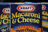 Boxes of Kraft Macaroni and Cheese are seen Wednesday, April 19, 2006, in Milwaukee. Kraft Foods Inc. releases first-quarter earnings after the bell.  (AP Photo/Morry Gash)