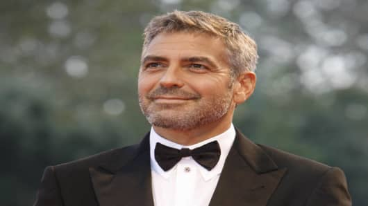 "Actor George Clooney arrives for the screening of ""Michael Cayton."""