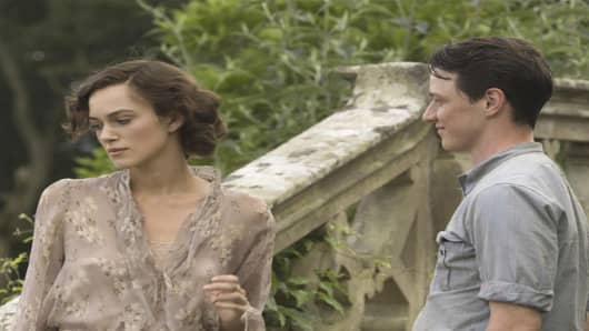 "A scene from ""Atonement""  featuring Keira Knightley, left, and James McAvoy."