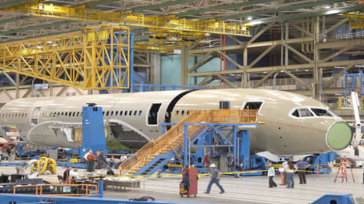This undated photo made available on Monday, May 21, 2007 by Boeing Co. shows the first 787 Dreamliner sections on the final assembly line in Everett, Wash. (AP Photo/Boeing Co., Gail Hanusa)