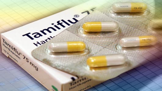 Tamiflu Tabletten, fotografiert am Mittwoch, 15. Maerz 2006 in Frankfurt am Main. (AP Photo/Michael Probst) ---Tamiflu pills in Frankfurt, central Germany, Wednesday, March 15, 2006. (AP Photo/Michael Probst)