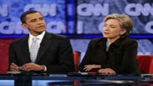 Sen. Hillary Rodham Clinton and Sen. Barack Obama.