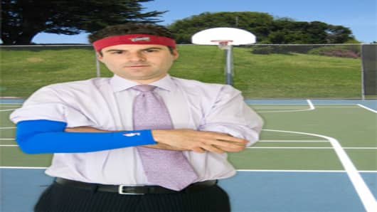Darren Rovell wearing the shooting sleeve and headband