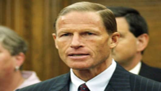 State Attorney General Richard Blumenthal holds a press conference in his office to announce plans to file a lawsuit against the U.S. Department of Education over the federal No Child Left Behind Act in Hartford, Conn., Monday August 22, 2005.