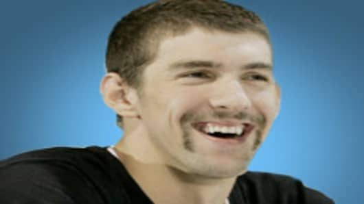 Michael Phelps with a Fu Manchu.