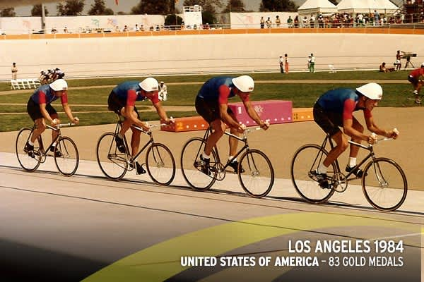 Graphic: Steve Ryan and CNBC(Great Britain's pursuit team at the 1984 Los Angeles.)