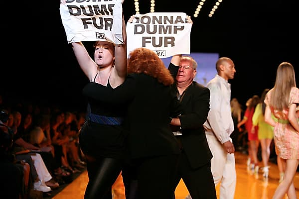 DKNY Spring 2009Protestors from PETA rushed the runway of the DKNY show during New York Fashion Week.