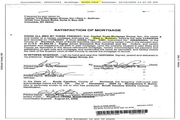 Cox faked this Satisfaction of Mortgage, claiming that Gary Sullivan (an identity Cox stole from a homeless man) had paid off his mortgage, then used this satisfaction document to gain loans on the house. But it wasn't all work and no play. Note the faked name of the bank's vice president: Montgomery C. Burns. It's a play on the name of the billionaire on the animated series The Simpsons: C. Montgomery Burns.