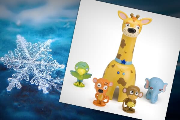 : Wild Planet: $19.99Animal Scramble has an electronic hand-held tagger shaped like a giraffe that asks kids to find four animals: a monkey, parrot, tiger and elephant. The giraffe calls out which animals kids should tag and tracks the amount of time taken to complete each course. (For ages 3 and up.) »