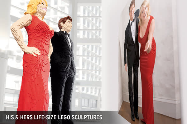 : $60,000Did you ever want to be immortalized in LEGO bricks? All you have to do is send in a picture of the two of you, and artist Nathan Sawaya will whip together your life-size likeness out of LEGO bricks.