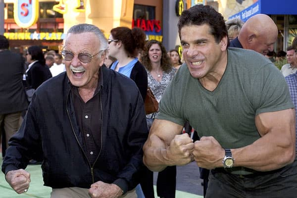 "2 separate films about the Hulk are made only 5 years apart. The more recent The Incredible Hulk, starring Edward Norton, generated just a bit more ""green"" than its predecessor with $134.8 million domestically.In this photo, Stan Lee poses for a picture with TV's Hulk, Lou Ferrigno in 2003."