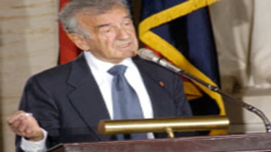 Elie Wiesel writer and Holocaust survivor shown here addressing the US Congress.