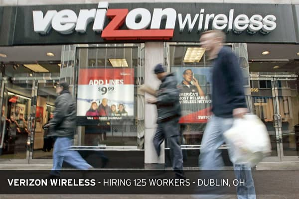 Verizon Wireless is hiring 125 customer service reps in Dublin, OH