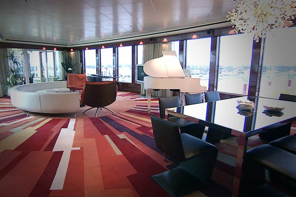 The largest suite onboard is the 4,390 sq foot Garden Villa, complete with 3 bedrooms, 3 bathrooms and a butler....all for $26,000.